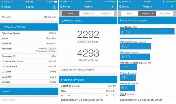 iphone-6s geekbench testi sonuçları