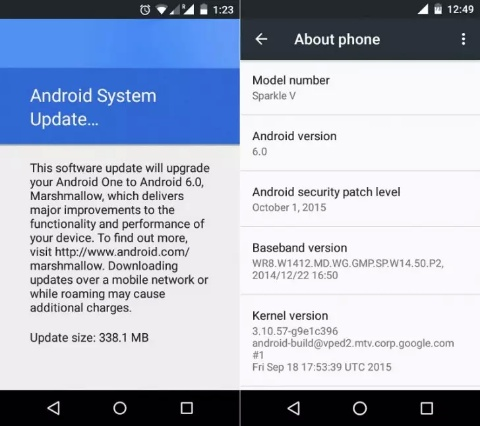 android one android marshmallow güncellemesi