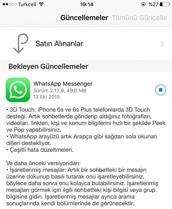whatsapp 3d touch özelliği
