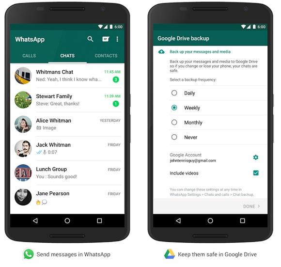 whatsapp google drive yedekleme