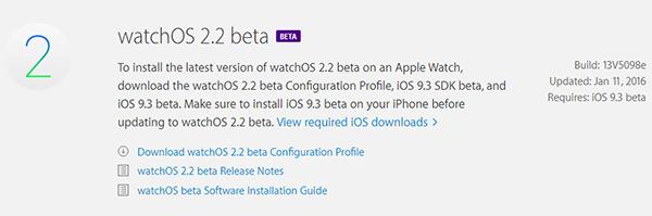 watchOS 2.2 beta güncellemesi