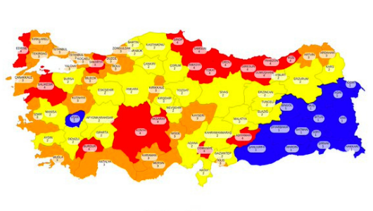Türkiye Kızarıyor, Mavi İllerin Sayısı Azaldı!